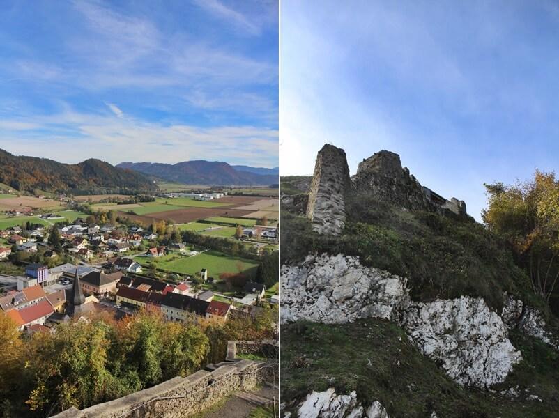 Griffen Diex Genuss-mit-fernweh.de Ausblick vom Schlossberg sowie hoch auf den Schlossberg von Griffen